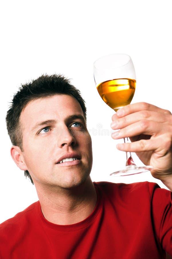 Homme avec une glace de vin image libre de droits