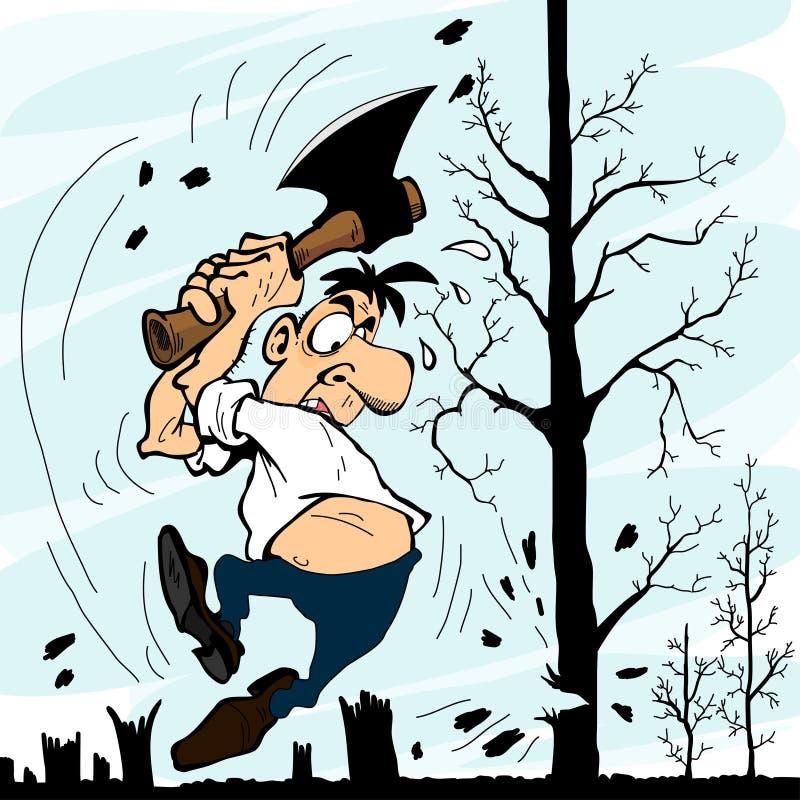Homme avec une hache coupant des arbres illustration de vecteur