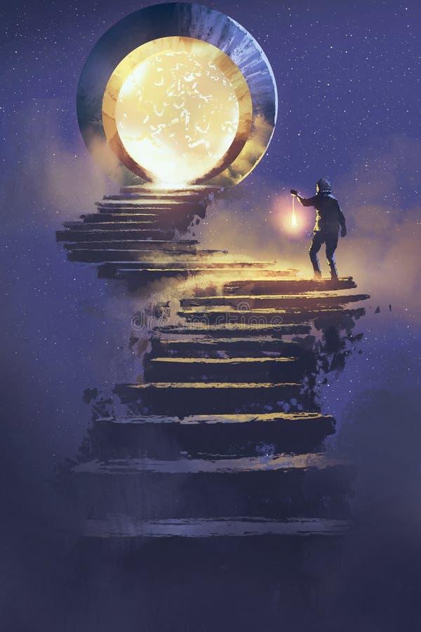 Homme avec une lanterne marchant sur l'escalier en pierre amenant à la porte d'imagination illustration de vecteur