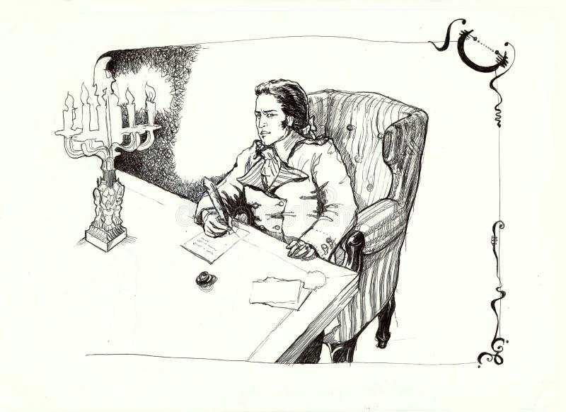 Homme avec une plume dans le dessin historique d'habillement illustration de vecteur