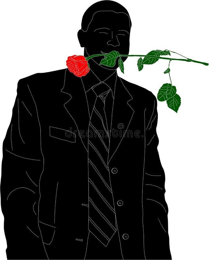 Homme avec une rose illustration de vecteur