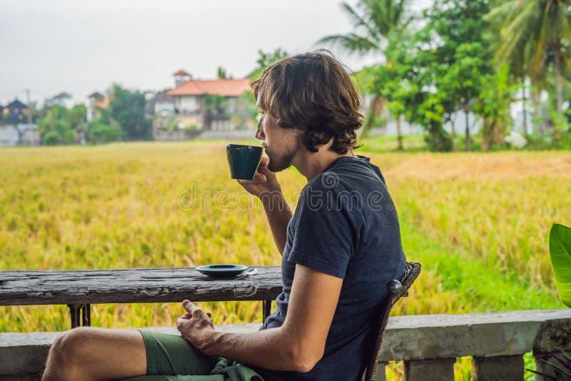 Homme avec une tasse de café sur la véranda de café près des terrasses de riz sur Bali, Indonésie photographie stock