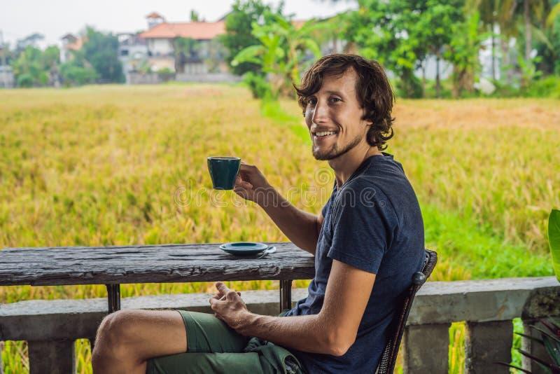 Homme avec une tasse de café sur la véranda de café près des terrasses de riz sur Bali, Indonésie photo libre de droits