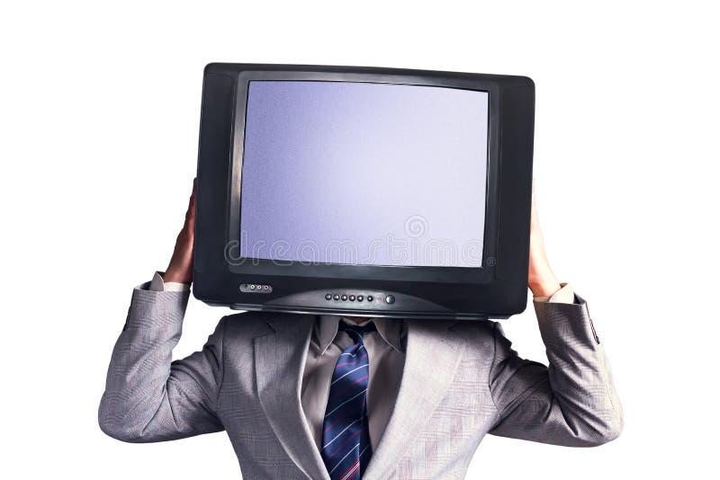 Homme avec une TV au lieu d'une tête d'isolement sur un fond blanc Place pour le texte Concept social de réseaux de multimédia images stock