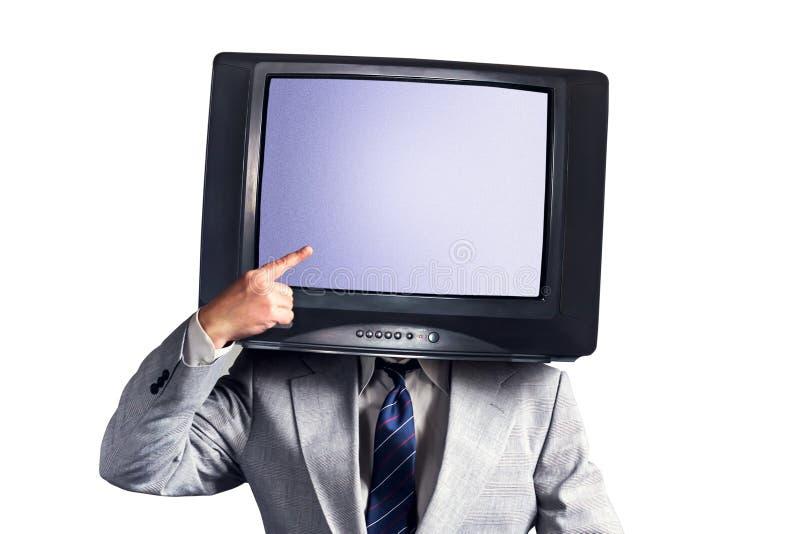Homme avec une TV au lieu d'une tête d'isolement sur un fond blanc Place pour le texte Concept social de réseaux de multimédia photo libre de droits