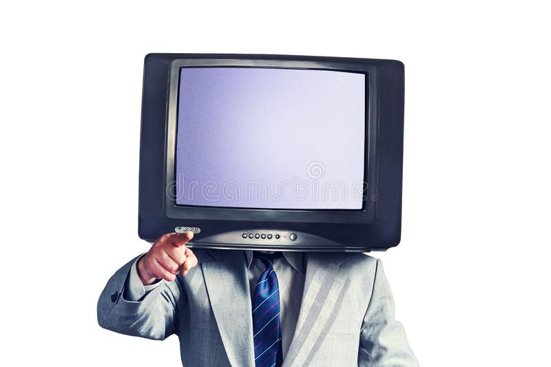 Homme avec une TV au lieu d'une tête d'isolement sur un fond blanc Place pour le texte Concept social de réseaux de multimédia photographie stock