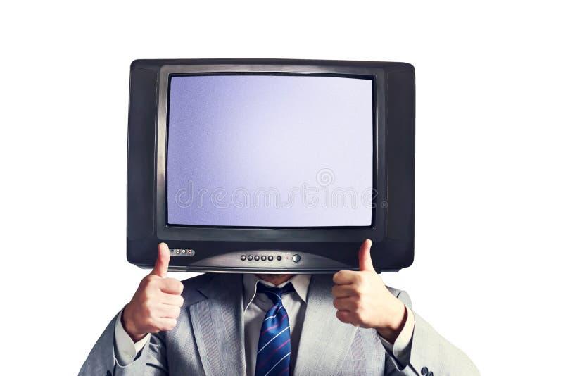 Homme avec une TV au lieu d'une tête d'isolement sur un fond blanc Place pour le texte Concept social de réseaux de multimédia image libre de droits