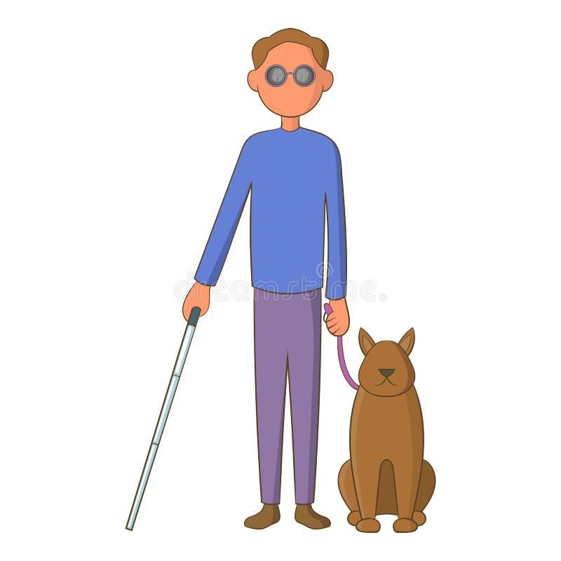 Homme aveugle avec l'icône de chien de guide, style de bande dessinée illustration libre de droits