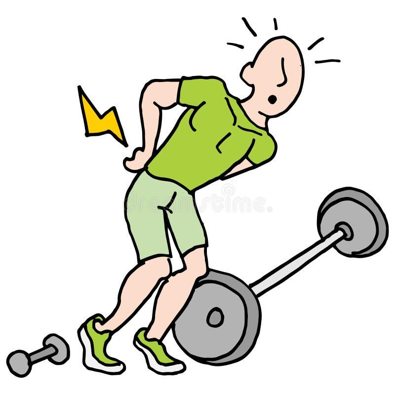 Homme ayant des douleurs de dos après levage des poids illustration de vecteur