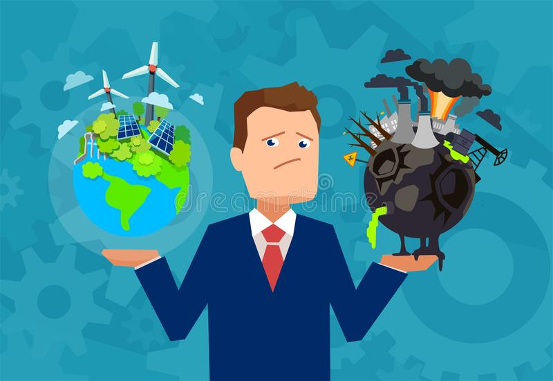 Homme ayant le dilemme avec le climat de planète illustration de vecteur
