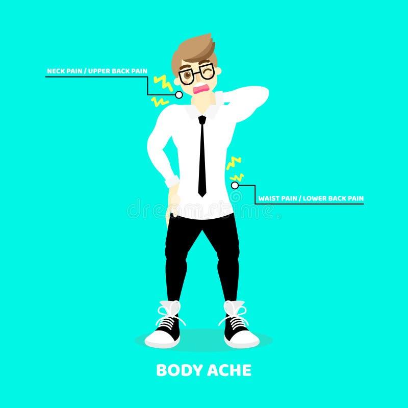 homme ayant le mal de corps, mal de dos, cou, supérieur, inférieur, douleur de taille, concept de symptômes de la maladie de soin illustration libre de droits