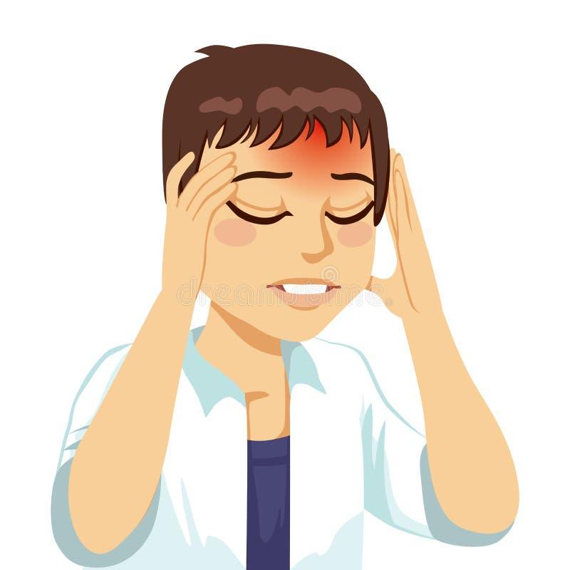 Homme ayant le mal de tête illustration libre de droits