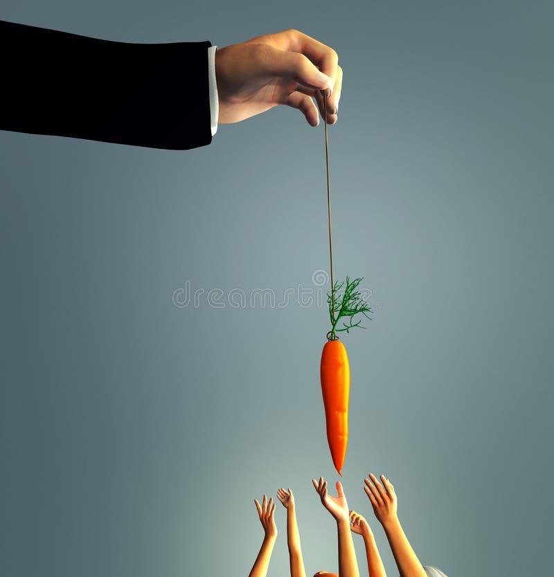 Homme balançant une carotte illustration libre de droits