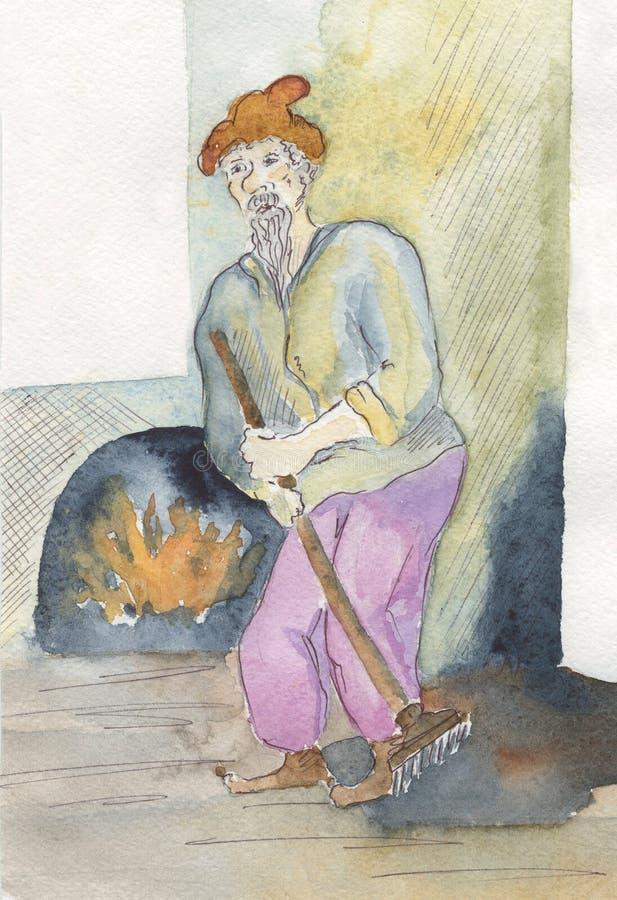 Homme balayant le plancher, illustration drôle d'aquarelle illustration stock