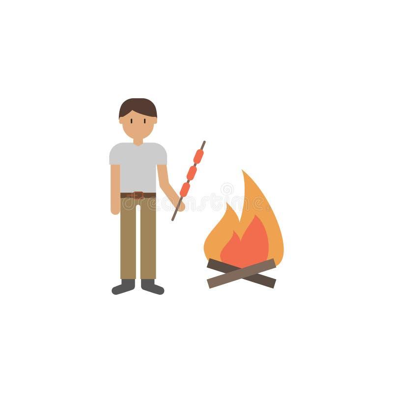 Homme, barbecue, icône de bande dessinée du feu Élément d'icône de voyage de couleur Icône de la meilleure qualité de conception  illustration libre de droits
