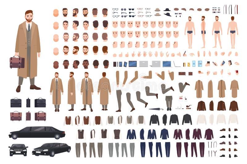 Homme barbu élégant dans l'ensemble d'animation de manteau ou le kit de DIY Collection de parties du corps, postures, coiffures,  illustration libre de droits