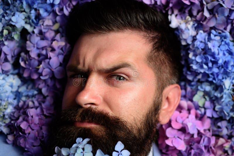 Homme barbu Été mâle avec des fleurs d'hortensia Ressort le jour des femmes Hippie caucasien brutal avec la moustache mûr photo stock