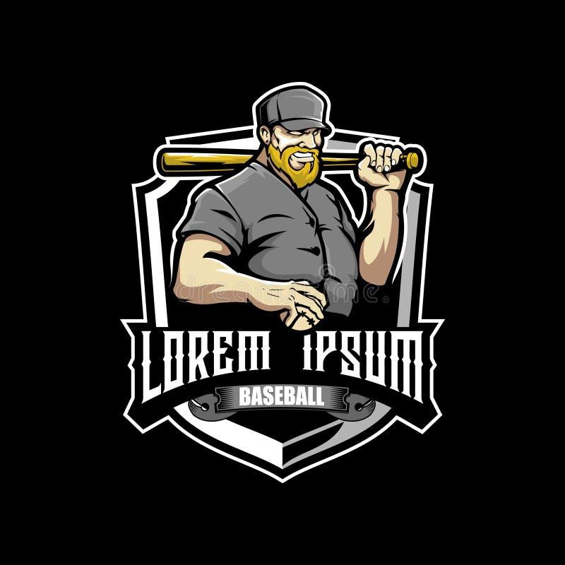 Homme barbu avec un calibre de logo d'insigne de sport de batte de baseball illustration libre de droits