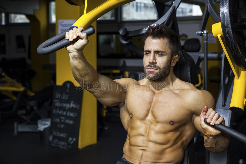 Homme barbu bel de bodybuilding photos stock