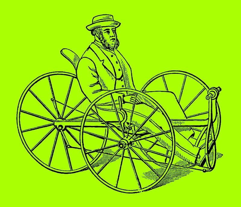 Homme barbu conduisant un tricycle historique illustration de vecteur