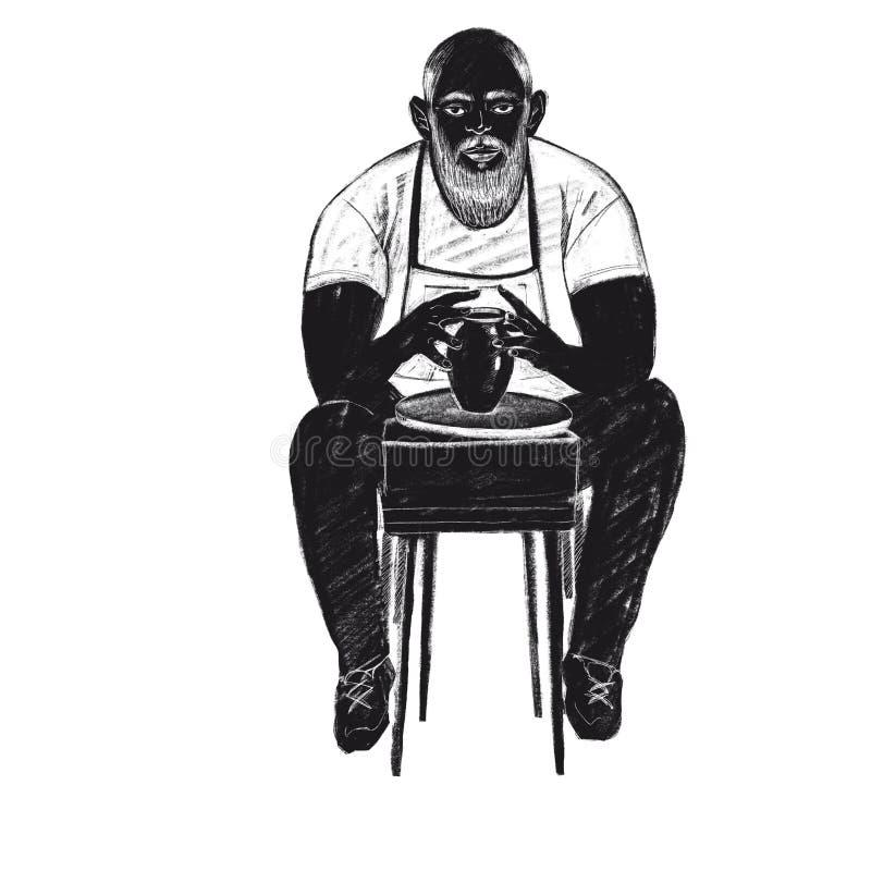 Homme barbu d'illustration de trame de Digital à la roue de poterie faisant un vase dans les objets d'isolement par couleur noire illustration libre de droits