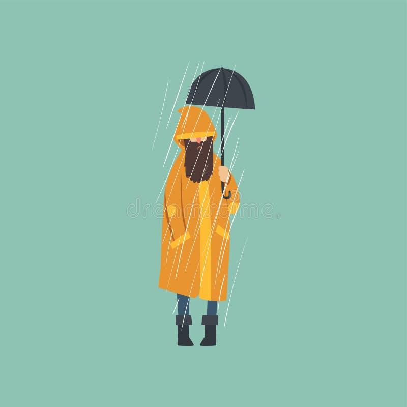 Homme barbu dans l'imperméable orange avec le parapluie au-dessus de l'illustration de vecteur de pluie d'automne illustration stock