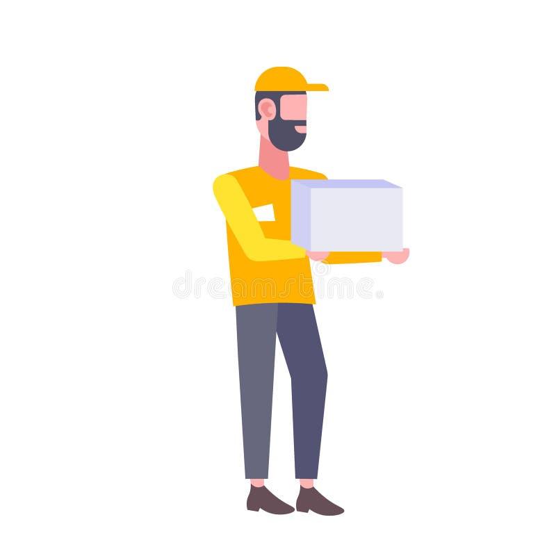 Homme barbu de facteur tenant le messager d'homme de boîte en carton dans la bande dessinée masculine de transport de concept de  illustration stock