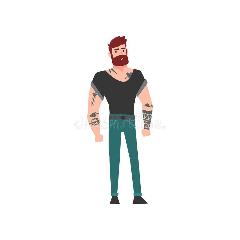 Homme barbu de hippie musculaire avec le tatouage, Guy Vector Illustration tatoué attirant illustration stock