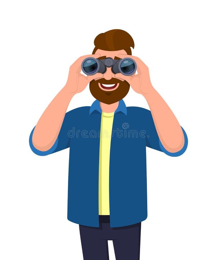 Homme barbu heureux dans la tenue de détente regardant par des jumelles Personne tenant un binoculaire dans des mains Conception  illustration de vecteur