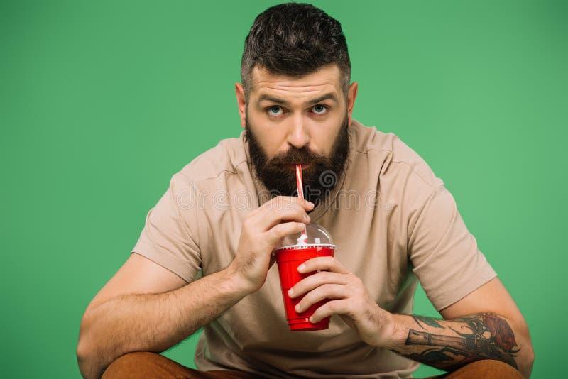 Homme barbu intéressé à boire du soda isolé photos libres de droits
