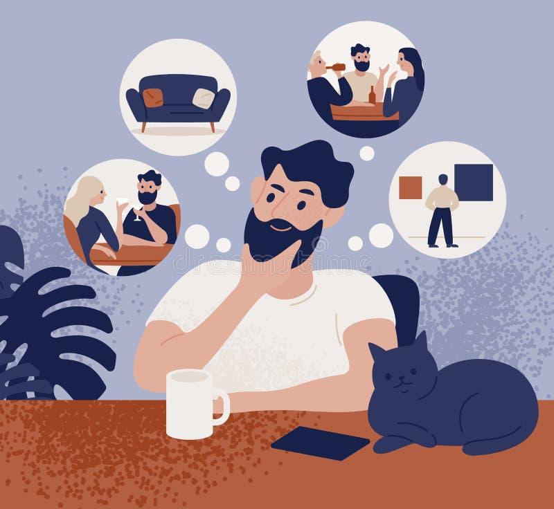 Homme barbu réfléchi s'asseyant à la table et pensant aux loisirs ou aux activités récréationnelles pour choisir Type songeur mig illustration stock