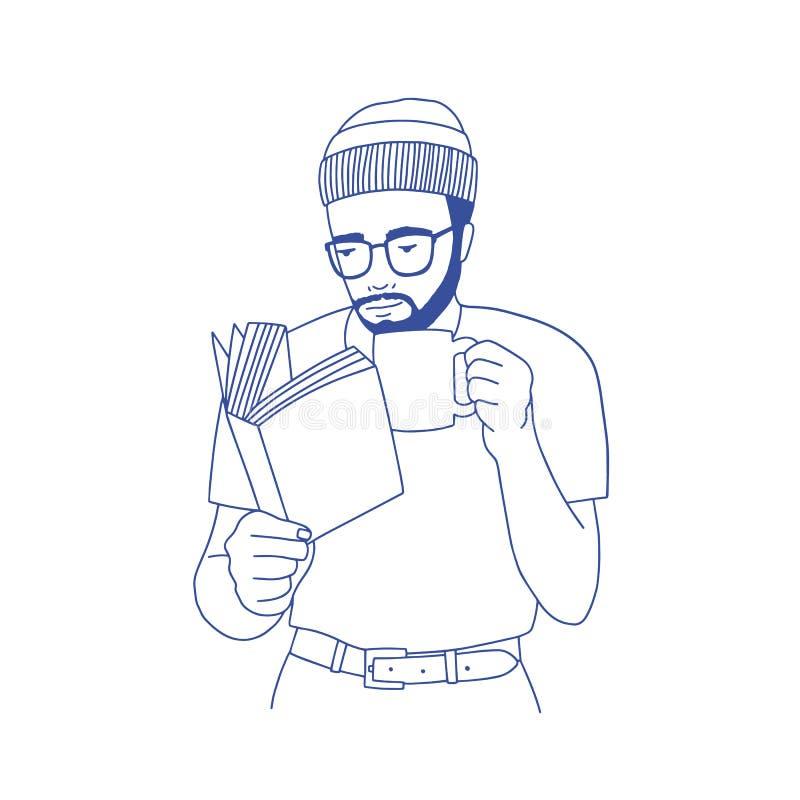 Homme barbu songeur avec la tasse de participation en verre, le café potable et le livre de lecture Portrait du type élégant futé illustration libre de droits