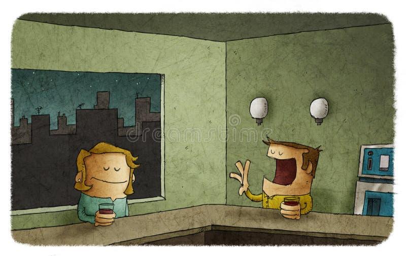 Homme bavard et femme ennuyée dans la barre illustration stock