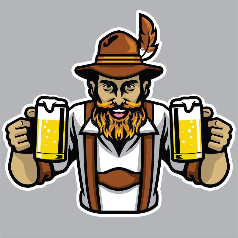 Homme bavarois barbu tenant quelques la pinte de bière en verre illustration stock