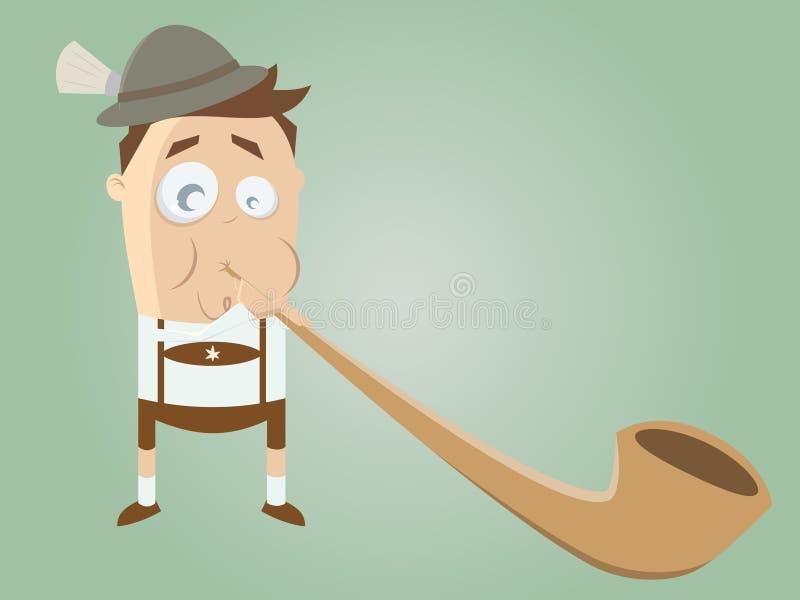 Homme bavarois drôle avec l'alphorn traditionnel illustration libre de droits