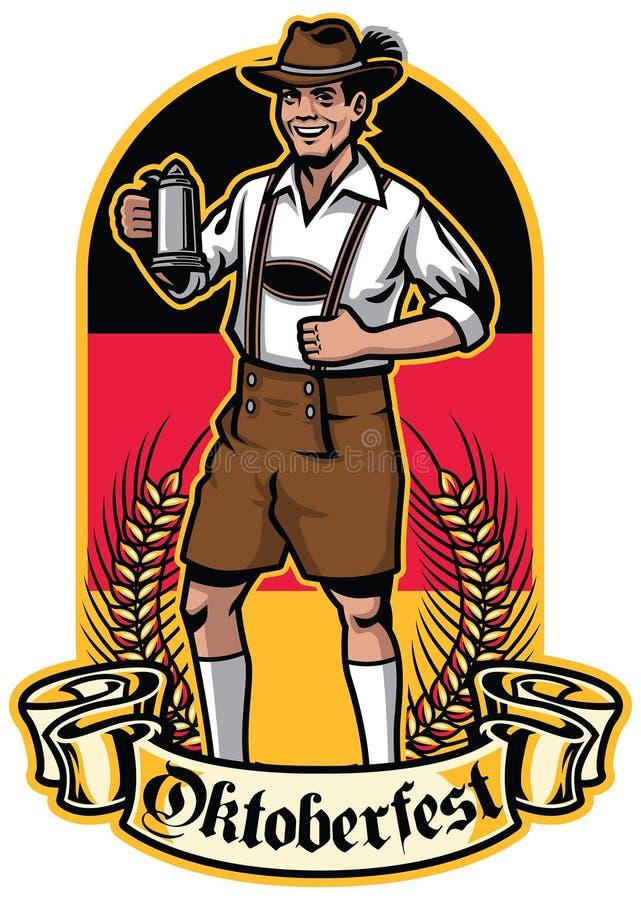 Homme bavarois prêt à célébrer oktoberfest illustration libre de droits