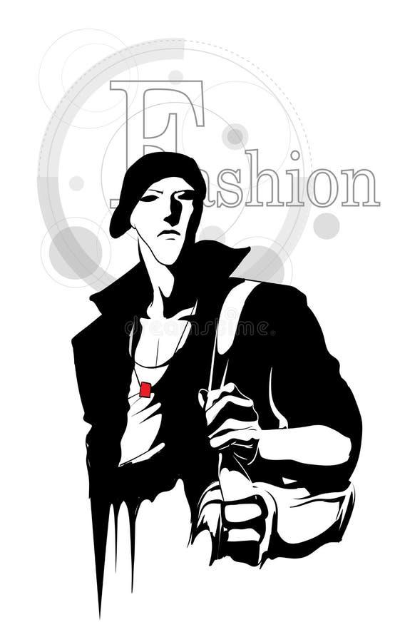 Homme bel élégant dans des vêtements de mode Homme de mode Modèle masculin tiré par la main croquis Homme élégant bel illustration stock