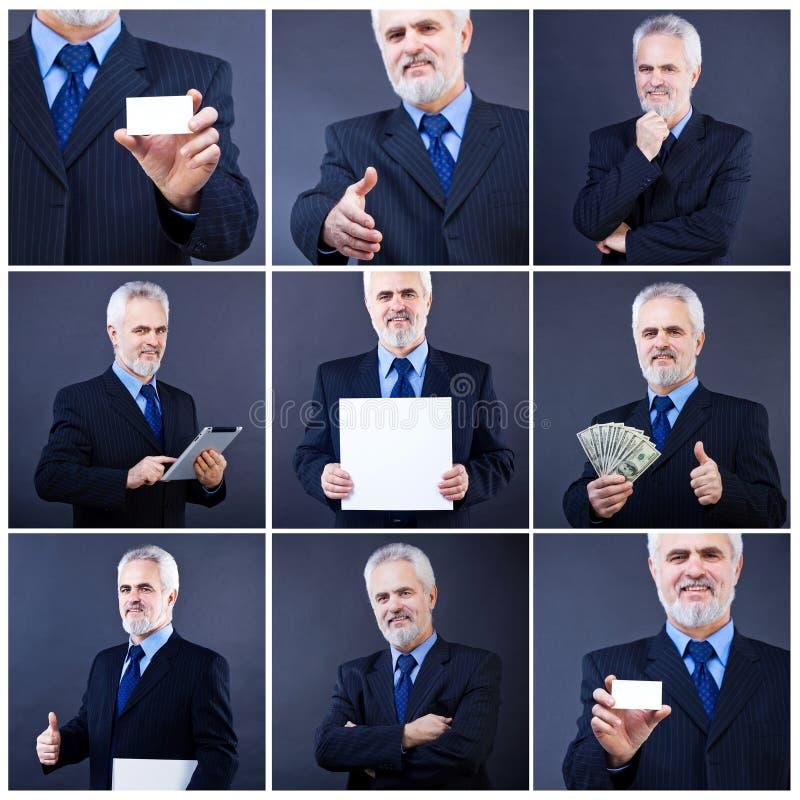 Homme bel d'affaires tenant la carte vierge images libres de droits