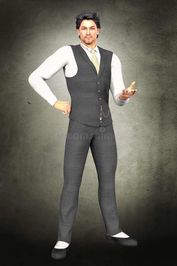 Homme bel dans l'habillement de début du 20ème siècle illustration libre de droits