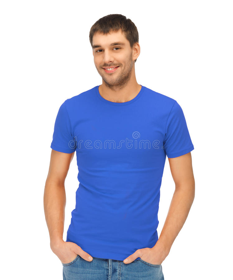 Homme bel dans la chemise bleue images libres de droits