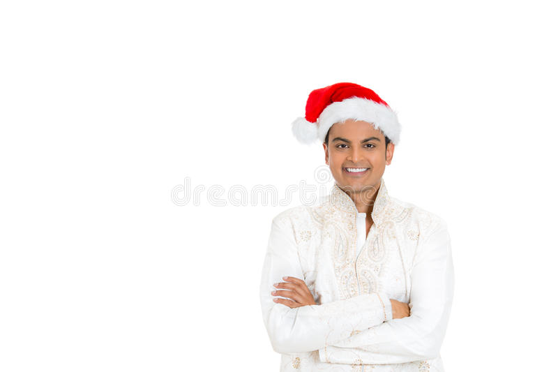 Homme bel dans le dhoti et le chapeau de Noël photographie stock libre de droits