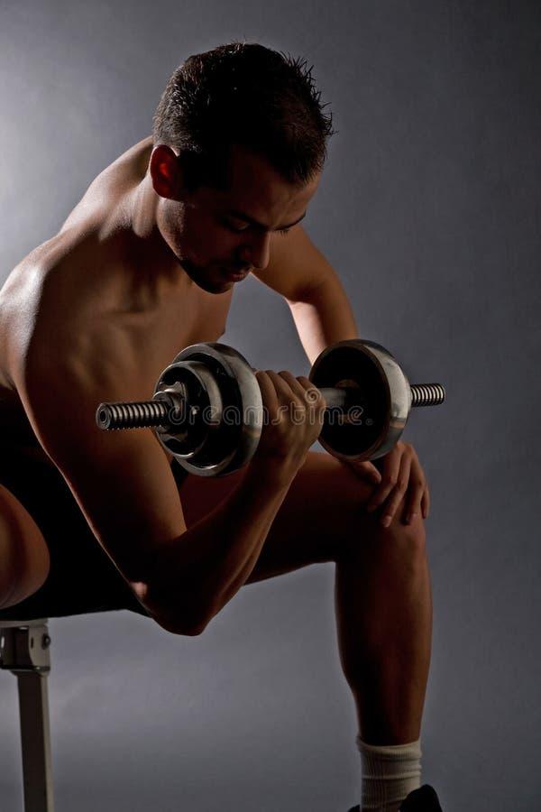 Homme bel faisant des poids photo stock