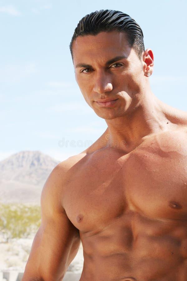 Homme bel sexy avec de l'ABS de sixpack photographie stock