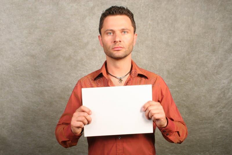 Homme blanc avec la carte - l'espace pour la copie, avant photos stock
