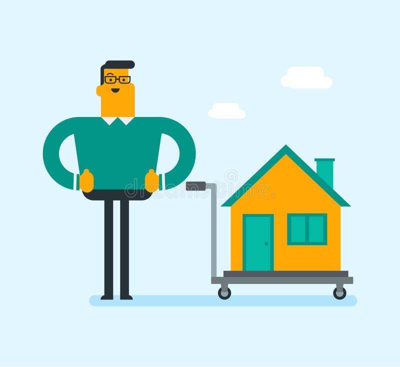 Homme blanc caucasien avec une maison sur un chariot illustration de vecteur