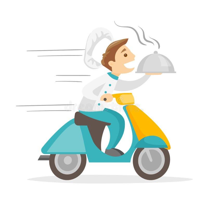 Homme blanc caucasien livrant le plat sur le scooter illustration de vecteur