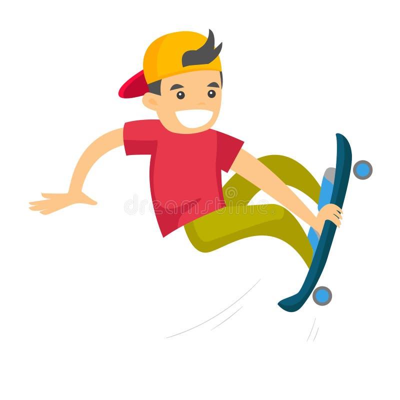 Homme blanc caucasien montant une planche à roulettes illustration de vecteur