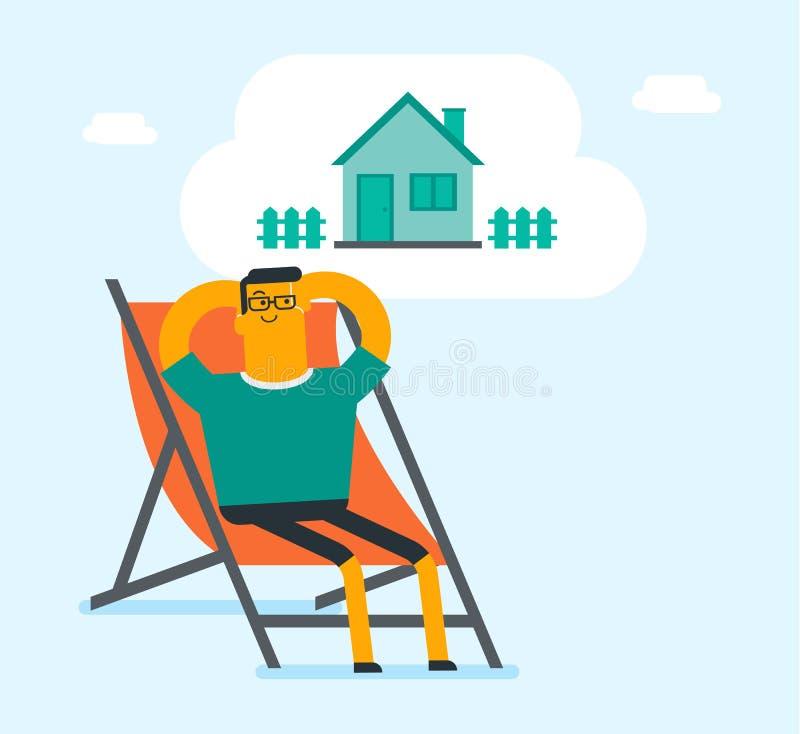 Homme blanc caucasien rêvant d'acheter une maison illustration stock