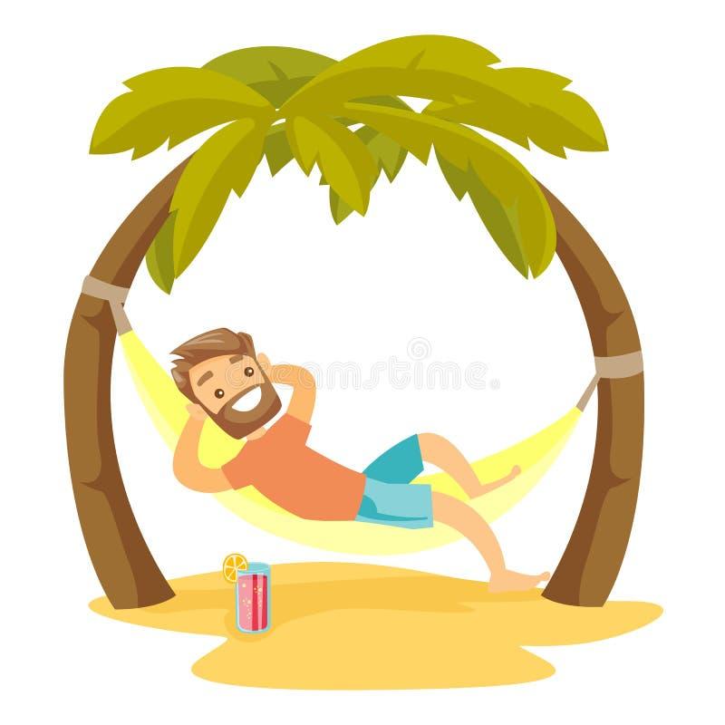 Homme blanc caucasien se situant dans l'hamac sur la plage illustration stock