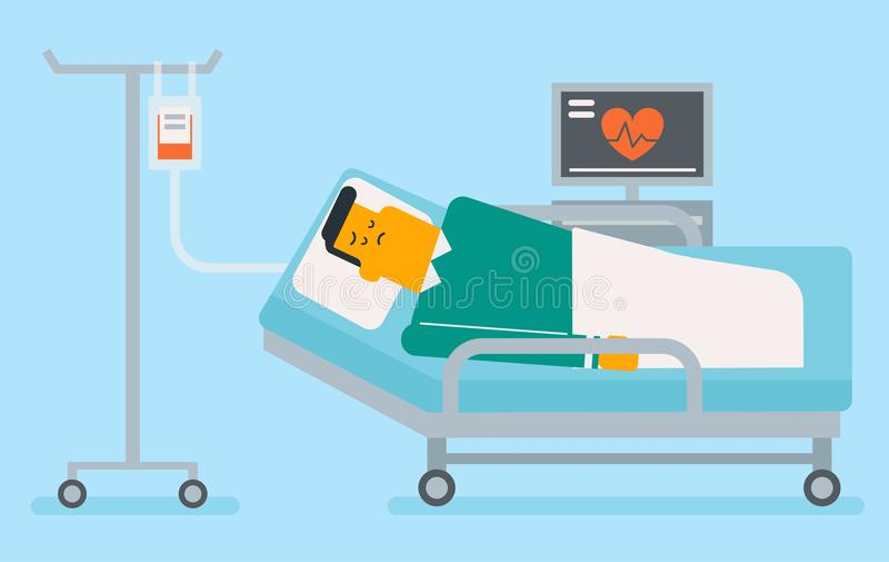 Homme blanc caucasien se situant dans le lit d'hôpital illustration de vecteur